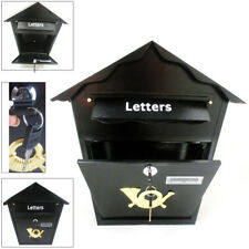 Steel Black Mailbox Wall Mount Letter Locking Mail Large Box Retrieval Door 2Key
