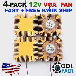 12v 55mm VGA Video Card Heatsink Cooling Fan PC CPU Aluminum Cooler 2Pin 4pcs