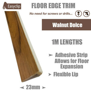 Walnut Dolce 100cm Long Room Edge Trim Profile Adhesive Allows Floor Expansion