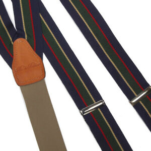 BROOKS BROTHERS Classic Preppy Blue Green Red Yellow Striped Braces Suspenders