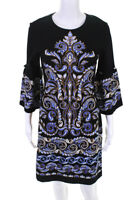 J. Mclaughlin Womens Kinsley Crew Neck Paisley Sheath Dress Black Blue Size XS