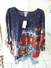 Woman's Blue Blouse w/Winter Scene & Sequins  Size 5X NWT