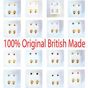 Ear Piercing Studs Studded Earrings Bezel 3MM Stud Certified Sterile Gold Silver