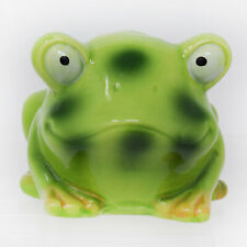 Cute Frog Toad 3 Toothbrush Holder Green Spotted Big Eyes Ceramic Whimsical New