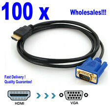 Wholesales! 100pcs HDMI to VGA M2M 15Pin 6FT Video Adapter Cable For HDTV DVD PC