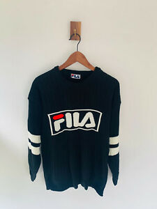 Vintage Fila Spell Out Black White Knitted Round Neck Pullover Jumper Mens M