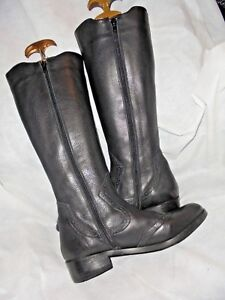 VANILLA MOON WOMAN BLACK LEATHER ELASTIC ZIP KNEE HIGH BOOT SIZE UK 4 EU 37 VGC