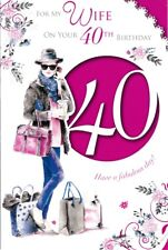 Wife 40th Birthday Card - Age 40 - fashion handbags embossed