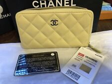 AUTHENTIC CHANEL 18C LIGHT YELLOW CC LOGO QUILTED LAMBSKIN LEATHER WALLET, NEW