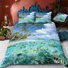 Single/Double/Queen/King Size Bed Doona Quilt Duvet Cover Set Blue Palm Sea Fish