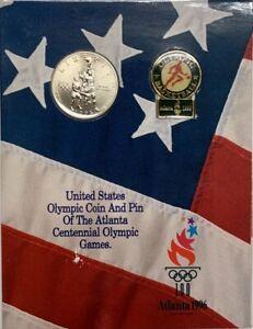 1995 S Atlanta Olympic Basketball Silver Half Dollar and Pin Set OGP