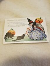 Vintage Antique Halloween Post Card -Witch -Black Cats- Pumpkin's And Owl