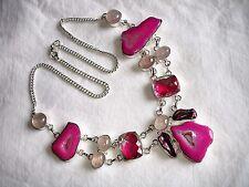 "AB Pink Botswana Agate Rose Quartz Rainbow Topaz  Statement Necklace Silver 21"""