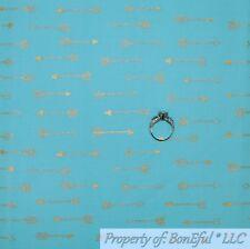BonEful FABRIC FQ Cotton Quilt Aqua Blue Teal Small Nautical Arrow Gold Metallic