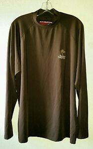 Sun Mountain Brown BANDON CROSSINGS Logo Size L Mock Neck Golf Shirt Long Sleeve