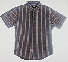 APT 9 Striped Blue Brown Button Down Short Sleeve Shirt Size Medium