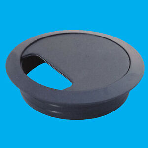 80mm Black Computer Desk Table Grommet Cable Tidy Port Wire Hole Cover