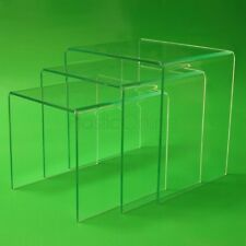 Green Glass Effect Acrylic Plastic Nest of 3 Tables Bedside Table End Table