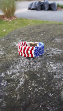 550 PARACORD TRILOBITE STITCH USA PATRIOTIC W/ BLACK BUCKLE BRACELET