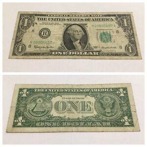 VINTAGE star LOW SERIAL NUMBER 1963 ST. LOUIS $1 ONE DOLLAR BILL GREEN SEAL FRN