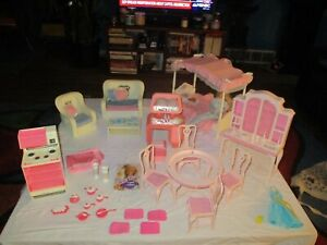 Vintage Mattel Barbie Sweet Roses & Dream House Furniture Lot with Barbie