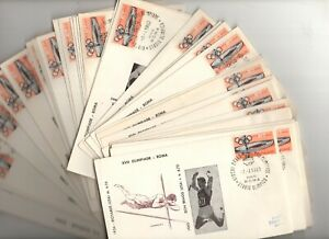 Italy 1960 36 different illustrated Olympics fdc's , open, same stamp different