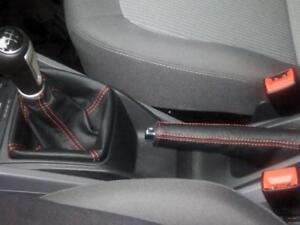 Seat Ibiza 6J cuffia cambio e freno a mano in pelle nera cucitur