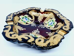 Beautiful Vintage Bohemian Ruby Glass Hand Painted Gilded Ash Tray