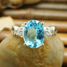 2.10 Ct Real Diamond Oval Cut Blue Topaz 950 Platinum Bridal Ring Size L M N O P