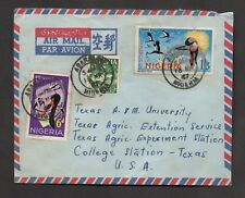 Nigeria #193, 190, 105, airmail cover to College Station, Texas, 1967