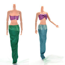 2 Pcs/set Handmake Lovely Princess Dresses For Barbies Mermaid Dolls With TaiECp