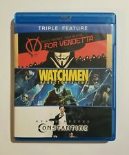V For Vendetta / Watchmen / Constantine Very Good 3-Disc Blu-ray Triple Feature