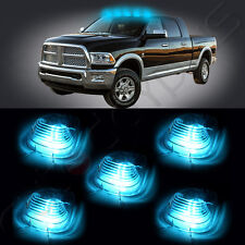 5pcs Smoked Cab Marker + 5pcs T10 Ice Blue 5050 LED Lights For Truck SUV 4x4