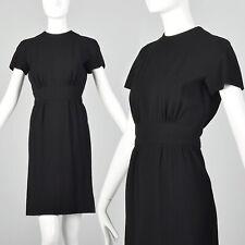 XXS 1960s Little Black Dress Vintage Wool Crepe Classic LBD XS 60s Short Sleeve