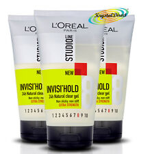 3x Loreal L'Oreal Studio Invisi Hold Natural Clear Extra Strength Hair Gel No8