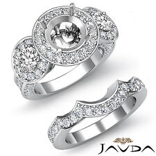 3Stone Round Diamond Semi Mount Ring Engagement Bridal Set 18k Gold White 1.77Ct