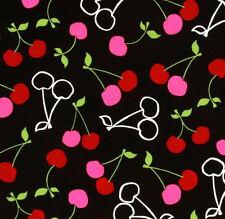 1YD CHERRIES Fruit Kitchen METRO MARKET 11263-2 BLACK R Kaufman Monoluna Fabric