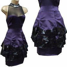 Karen Millen Purple Black Sequined Illusion Neckline Cocktail Prom Dress 12 UK