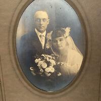 Antique/Vintage Trifold Photograph Young Couple Man Woman Wedding Dawson Boyd MN