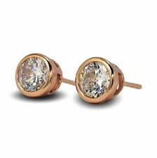 Simulated Diamond 7mm 9ct Rose Gold Filled Bezel Stud Earrings Mens Womens 9K