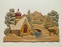 Vintage 1940s Large Pulp Cardboard Gingerbread House w/ Deer in Woods Decoration