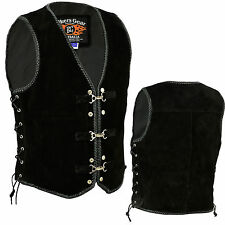 Mens Motorcycle Harley Style Spanish Braid Suede Vest With Clips Size S