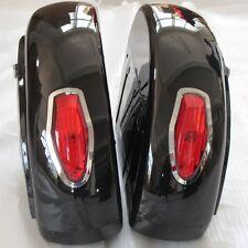 Black Saddle Bag w/light Trunk Luggage for motorcycle Honda Yamaha Harley Suzuki