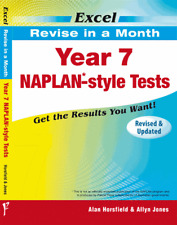 EXCEL REVISE IN A MONTH - YEAR 7 NAPLAN*-STYLE TESTS FREE SHIPPING 9781741252095