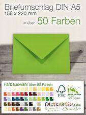 100x Briefumschläge DIN A5 - farbige Kuverts, Briefhüllen 100-120gr Farbauswahl