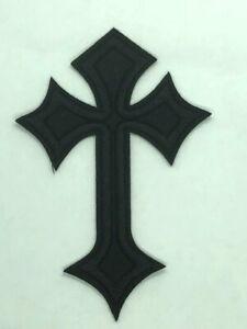 "Cross Applique Patch - Black, Christian, Jesus Badge 4"" (Iron on)"