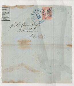 US 1866 Stamped lettersheet, Ellicott & Hewes, Baltimore 1/24/66 Blue cancel!