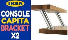 🍀 NEW Ikea CAPITA Brushed Stainless Steel Slanted Shelf Brackets Set 2 Legs LOT