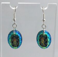 Mermaid Egg / Dragon Egg Scales Silver Plt Charm Earrings Blue Green D004
