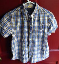 ABERCROMBIE & FITCH SHORT SLEEVE BUTTON DOWN SHIRT, YELLOW BLUE, BOYS MEDIUM